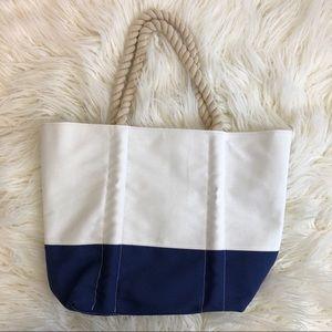 NWOT NEIMAN MARCUS navy white nautical tote bag